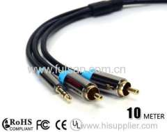 DC stereo 3.5mm to 2RCA cable with Metal shell 10m