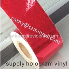 Red Hologram destructible vinyl stickers material