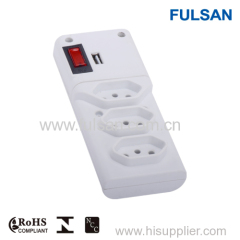 ETL 3 Outlets Power Strip With USB Ports and Switch