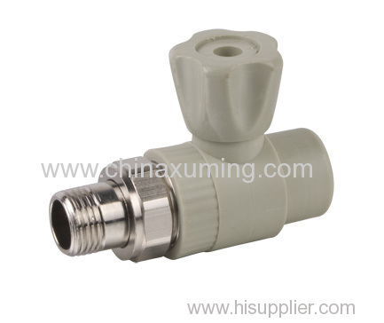 PP-R Straight Radiator Brass Ball Valve Pipe Fitting With Nickle Plated Brass Male Thread