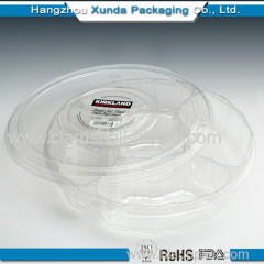 Disposable plastic divided salad bowl with cover