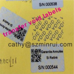 Non Removable Labels Stickers With Void Remainin on