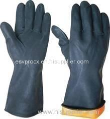 Diamond Finish Black Rubber Latex Glove With Smooth Liner For Household Working