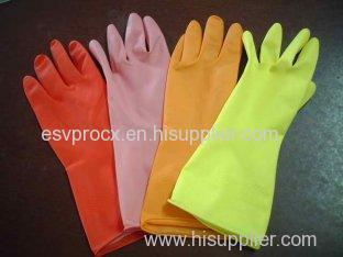 Waterproof Flock Lined Orange Rubber Latex Household Glove Customized
