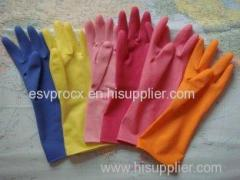 Oem M Reusable Blue, orange Rubber Latex Household Glove With Smooth Liner
