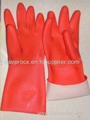 Smooth Liner Red Rubber Latex Household Glove With Diamond Finish