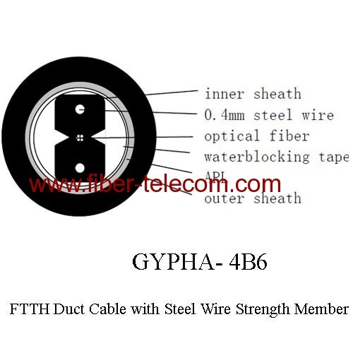 FTTH Duct Cable 4 core with 0.4mm Steel Wire strength member