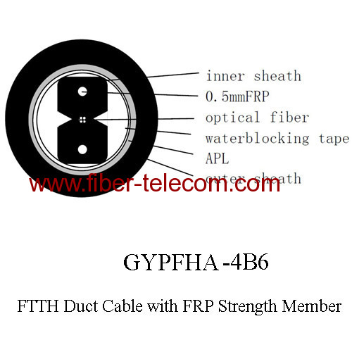 FTTH Duct Cable 4 core with 0.5mm FRP strength member