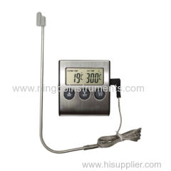Digital thermometer with stainless steel case
