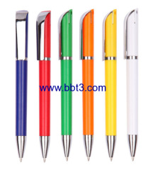 Promotional plastic ballpoint pen with metal clip