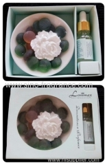 flower shape scented clay with aromatic oil