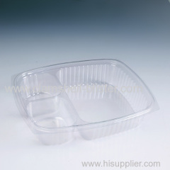 Clear plastic packaging food box with dividers