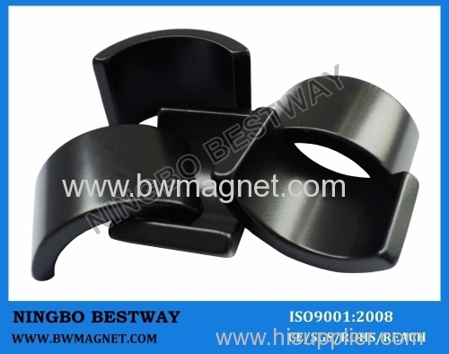 N45 Neodymium Arc magnets with black epoxy coating