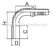 90 deg metric standpipe hydraulic hose fitting