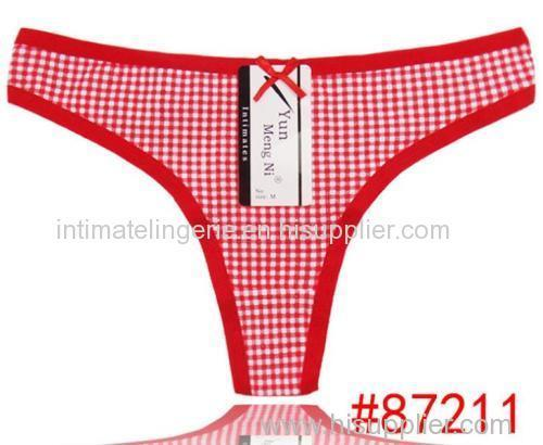 Checked print jeans g-string Komfortable Baumwolle Tanga cotton thong cotton t-back lady undergarment sexy lingerie