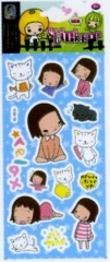 little girl Foil Puffy Stickers