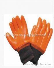 Tear Resistance Red Fluorescent PVC Coated Gloves with Knitting Wrist