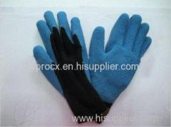 Wrinkle Finish Abrasion Resistance Blue Latex Coated Warm Winter Gloves