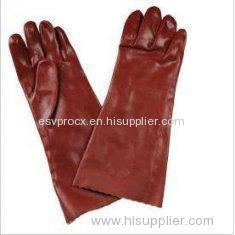 Chemicals Resistance Red PVC Industrial Protective Gloves With Interlock Cotton Liner