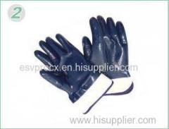 XXL Heavy Duty Blue Nitrile Coated Industrial Protective Gloves With Knitted Wrist