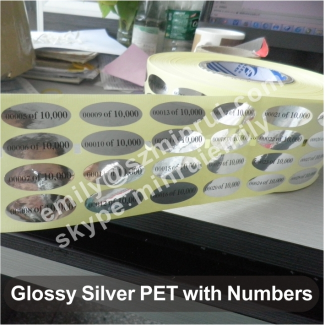 Glossy Silver PET Labels With Numbers From China Manufacturer - Custom vinyl stickers hong kong