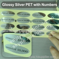 Glossy Silver PET Labels with numbers