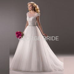 GEORGE BRIDE crystal beaded waist lace and tulle ballgown