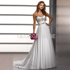 GEORGE BRIDE Chiffon A-line dipped neckline and richly beaded belt wedding dress