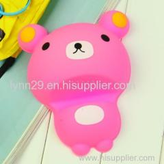 Muti-color small bear shape silicone mobile phone table holder