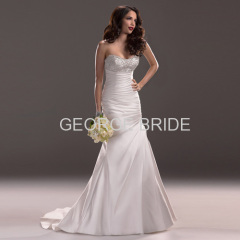 GEORGE BRIDR strapless scoop neckline Asymmetrical pleating bodice A-line wedding gown