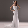 GEORGE BRIDE strapless Chiffon A-line wedding dress with handmade flowers at the side waist