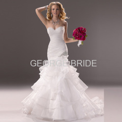 GEORGE BRIDE fashion strapless Organza wedding dress with crystal embellishment at the hip