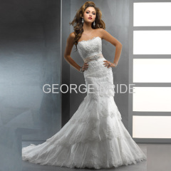 GEORGE BRIDE Vintage slightly dipped neckline slim A-line lace wedding dress with detachable ribbon belt