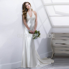 GEORGE BRIDE sexy halter beaded embroidery Satin Rosario Crepe Back wedding dress