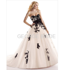 GEORGE BRIDE sweetheart tulle over satin black lace appliquees ball gown detachable belt with handmade flowers