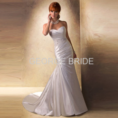 GEORGE BRIDE sweetheart Satin slim A-line asymmetrically draped wedding dress with beaded at waist and hip