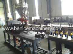 Plastic profile production line for wiring ducts