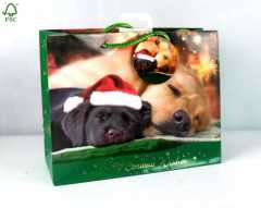 CUTE PUPPY CHRISTMAS SHOPPING GIFT BAG