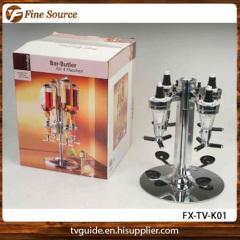 4 Bottle Shot Dispenser Bar Butler Metal