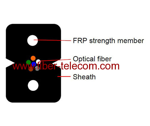 FTTH drop cable 6 cores with FRP Strength member