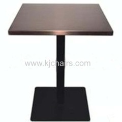 solid wood table top with cast iron table leg