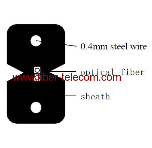 2-core FTTH Indoor Cable with 0.4mm Steel Wire strength member