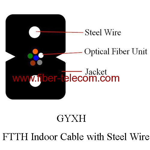 FTTH Drop Cable 6 fibers with Steel Wire strength