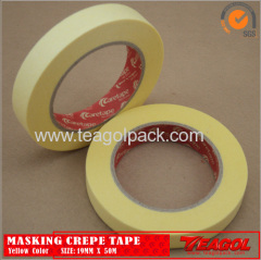 Yellow Crepe Paper Tape Industrial Purpose 19mm x 50M/25mmx50M/30mmx50M/38mmx50M/50mmx50M