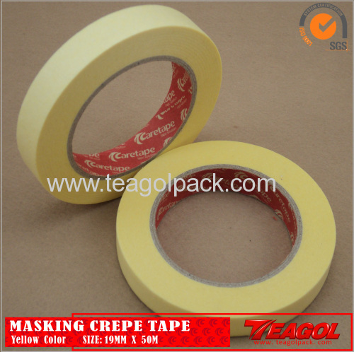 Yellow Crepe Paper Tape Industrial Purpose 19mm x 50m