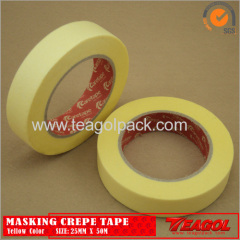 Yellow Crepe Paper Tape Industrial Purpose 25mm x 50m