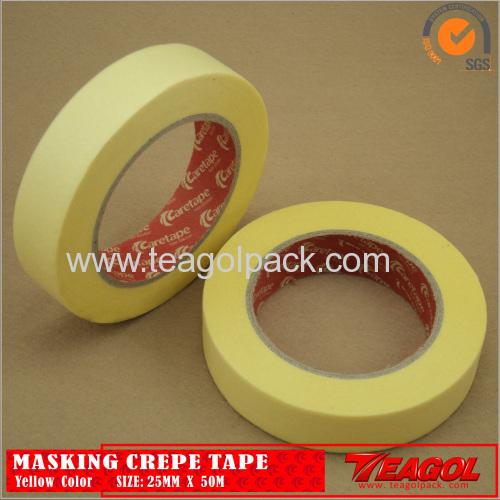 Yellow Crepe Paper Tape Industrial Purpose 25mm x 50m