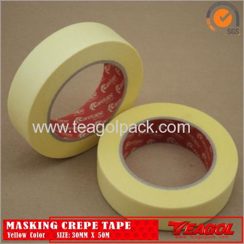 Yellow Crepe Paper Tape Industrial Purpose 19mm x 50M/25mmx50M/30mmx50M/38mmx50M/50mmx50M