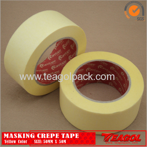 Yellow Crepe Paper Tape Industrial Purpose 50mm x 50m