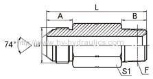 JIC male 74°/ long NPT male Adapters 1JN-L